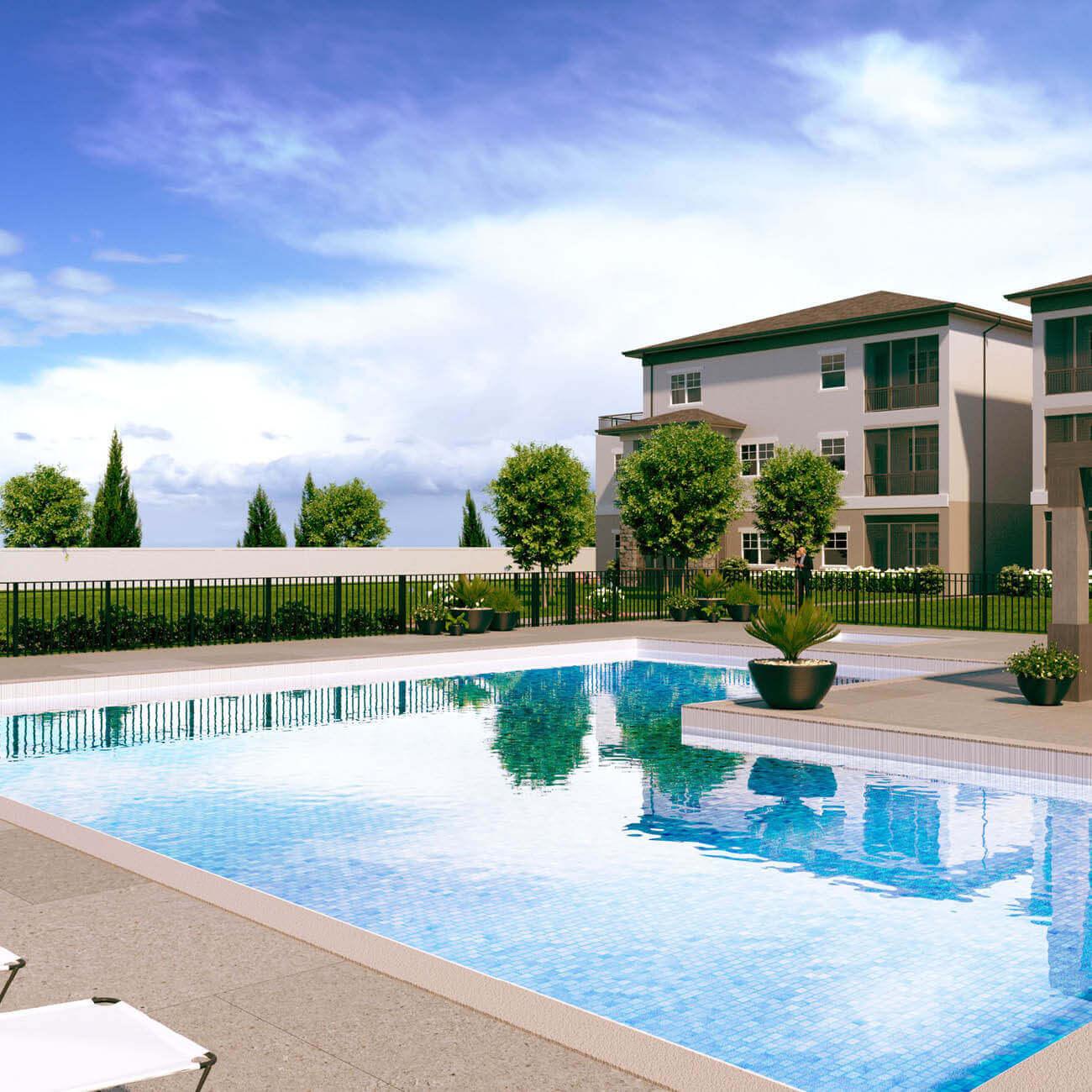 3D rendering of community outdoor swimming pool