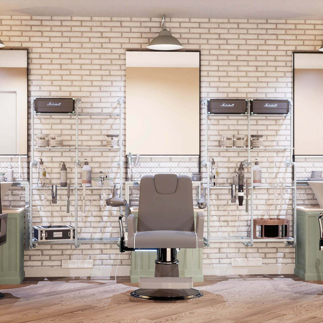 3D rendering of salon chairs