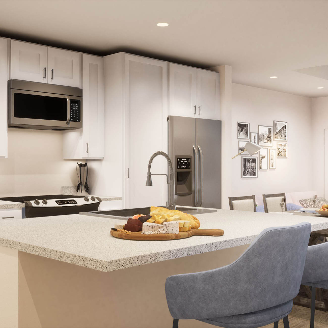 3D Rendering of apartment kitchen