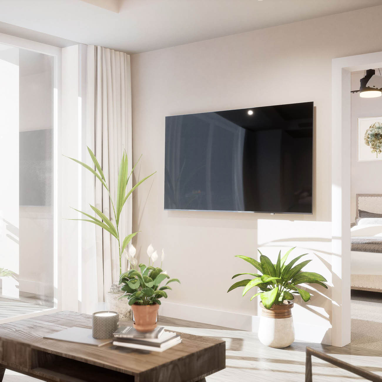3D rendering of apartment living room tv with green plants
