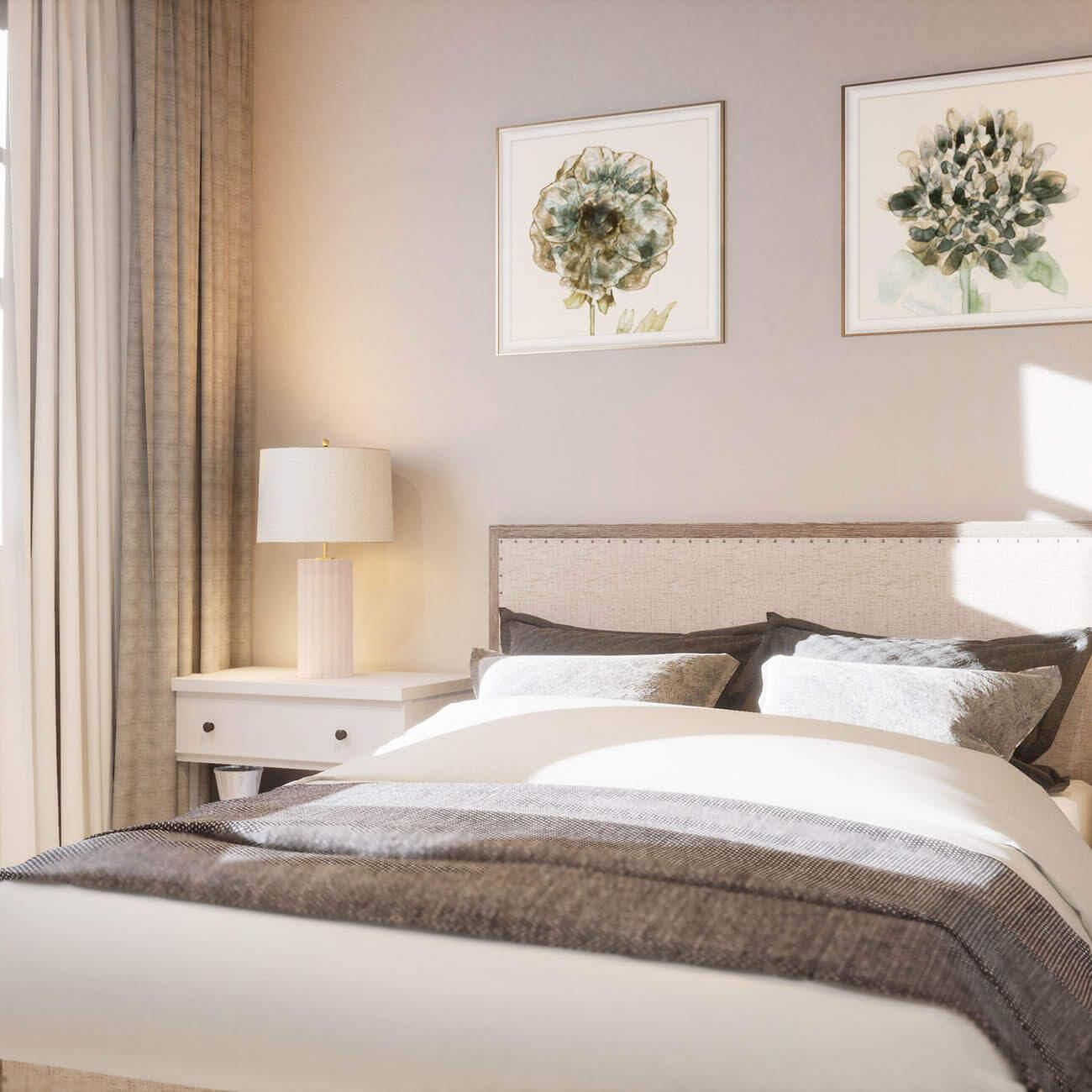 3D rendering of apartment bedroom