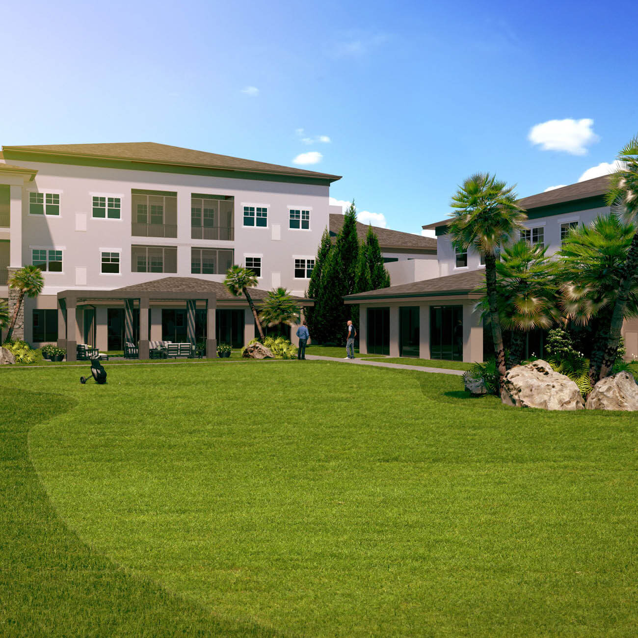 3D rendering of community putting green