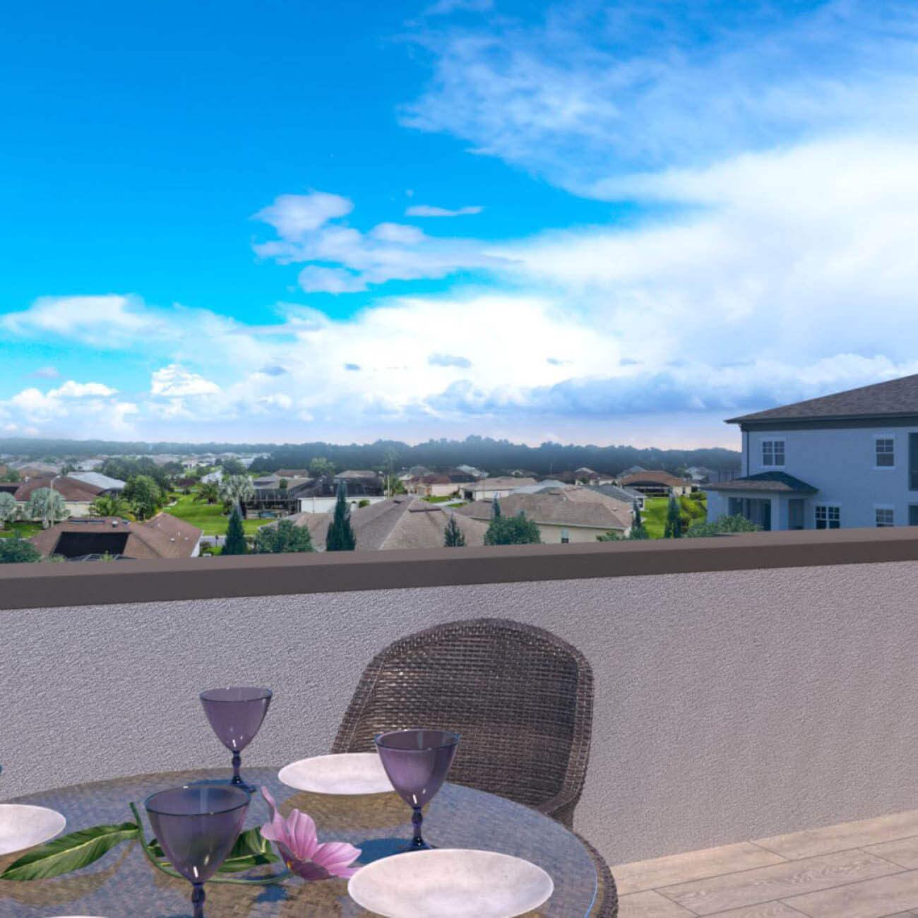 3D computer rendering of rooftop bar