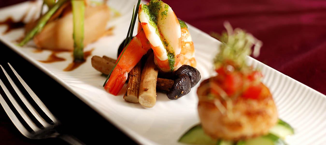 plated seafood dinner