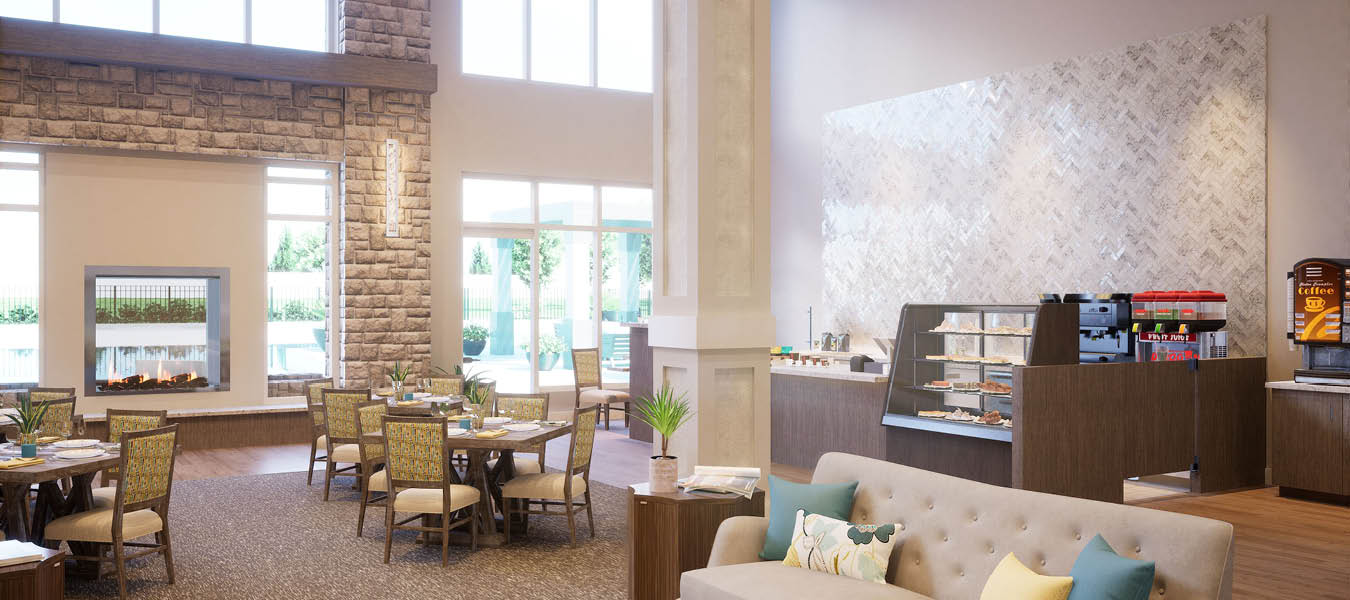 3D rendering of the lobby and bistro with tables, chairs and sofa