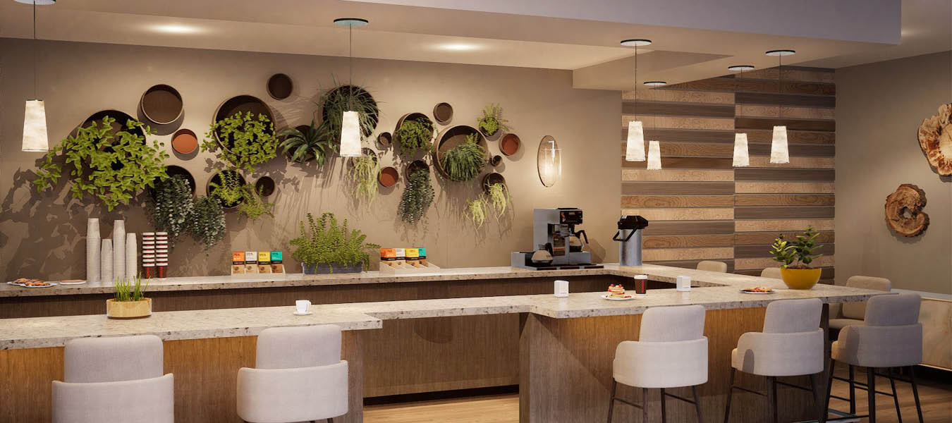 3D rendering of the coffee bar and bistro