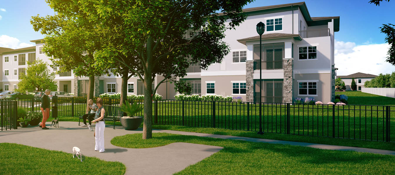 3D exterior rendering of the dog park at Highpoint at Stonecrest