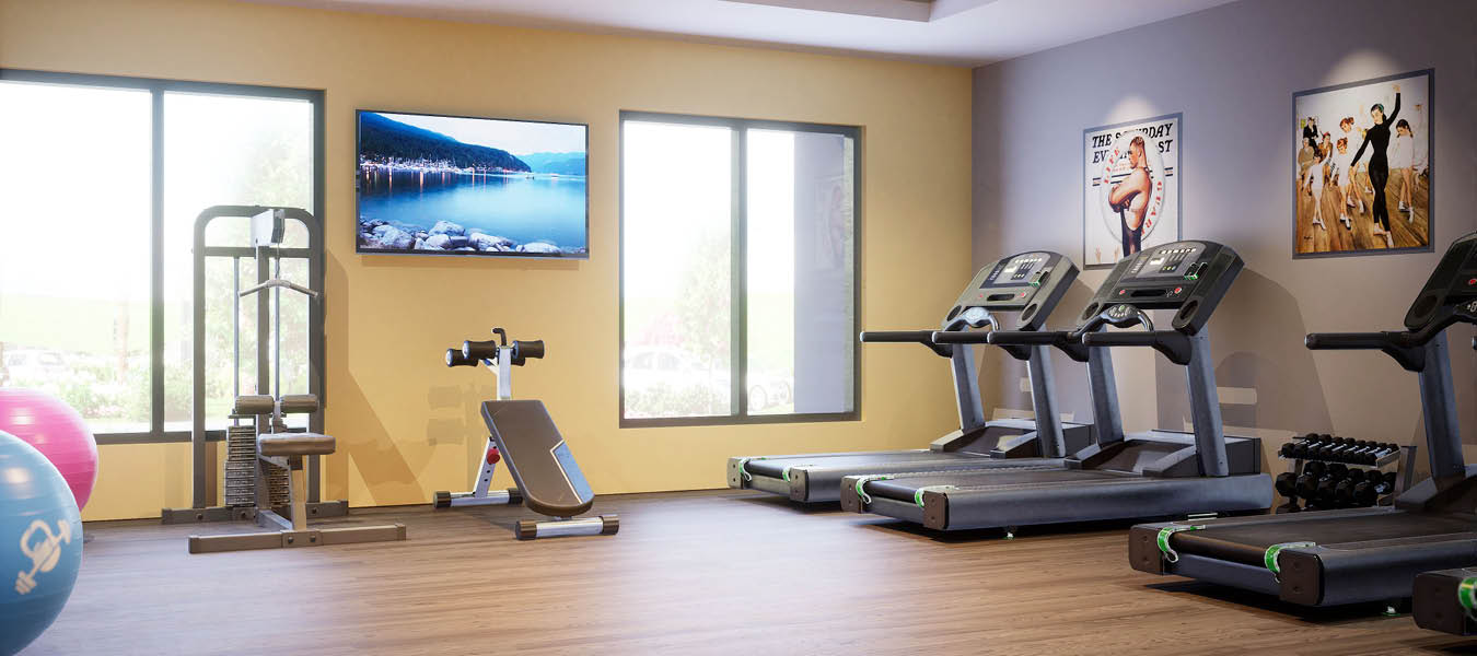 3D rendering of the fitness center with treadmills and weights