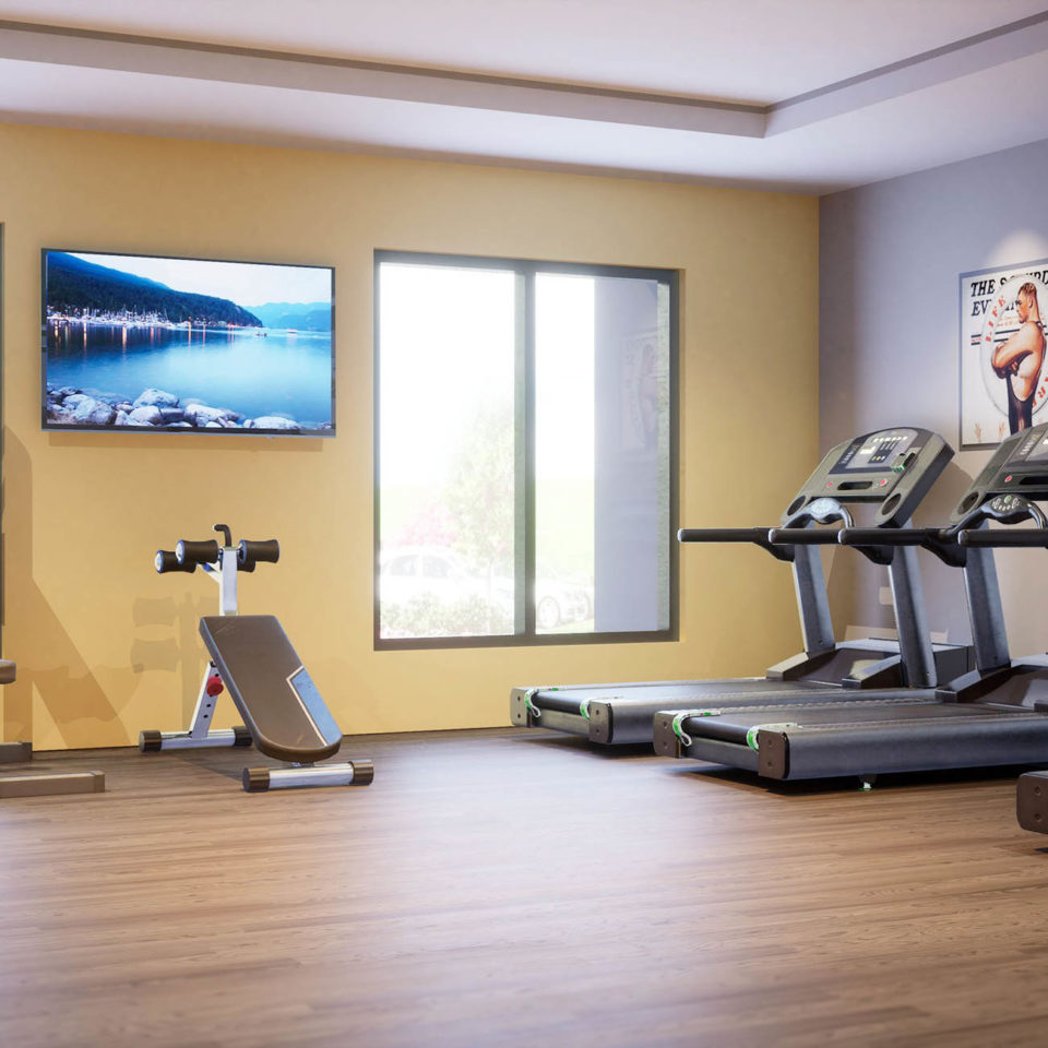 3D rendering of fitness center with treadmills and weights